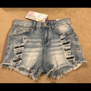 Distressed Denim High Waisted Shorts